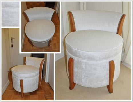 restauration pouf art d co 1930 haguenier. Black Bedroom Furniture Sets. Home Design Ideas