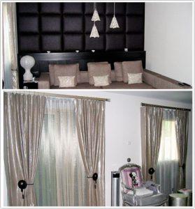 Haguenier, voilages et panneaux muraux dans un appartement