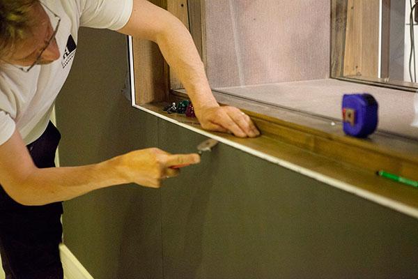 pose de tissu tendu mural l 39 ina. Black Bedroom Furniture Sets. Home Design Ideas