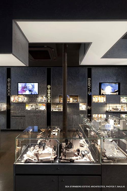 Plafond tendu éclairé pour boutique branchée
