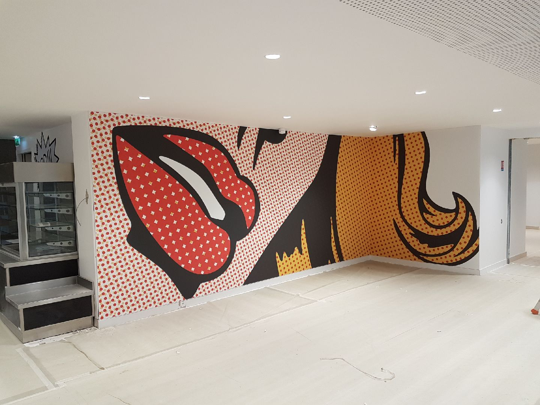 Toile murale tendue imprimée acoustique